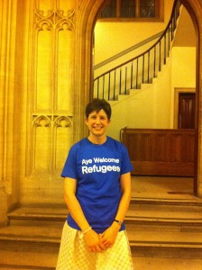 Alison Thewliss MP wearing an Aye Welcome Refugees T-shirt