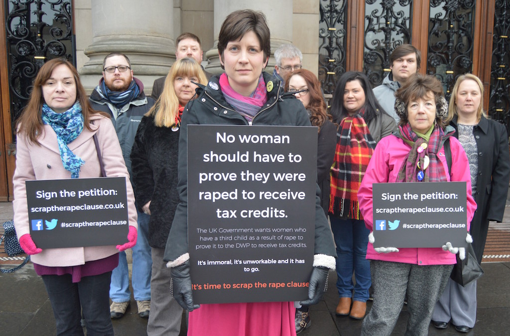 Thewliss takes rape clause fight to DWP HQ