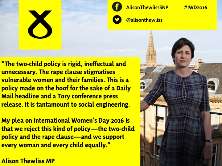 On International Women's Day, Alison Thewliss MP calls on the UK Government to scrap the two child policy and the rape clause