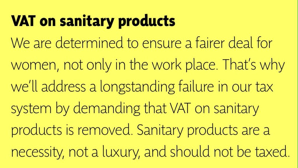 Tampon tax in the manifesto