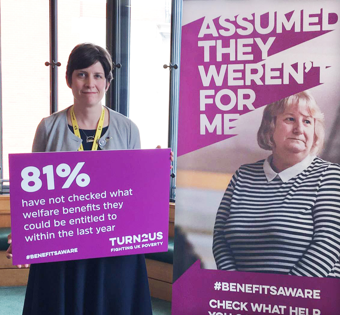 Alison Thewliss MP supporting the Benefits Aware campaign by the welfare charity Turn2us