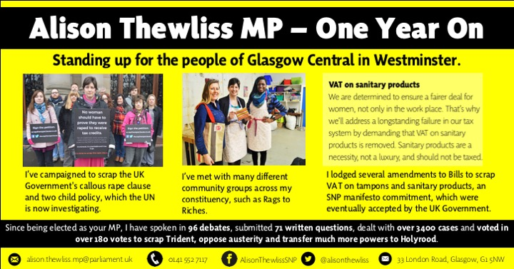 Infographic showing Alison Thewliss MP's work since being elected as MP for Glasgow Central in May 2015