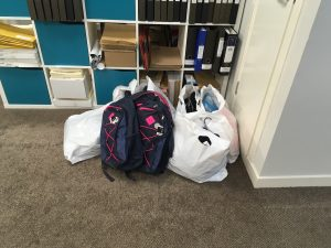 Supplies donated to the office of Alison Thewliss MP by volunteers from the Back to School Bank.